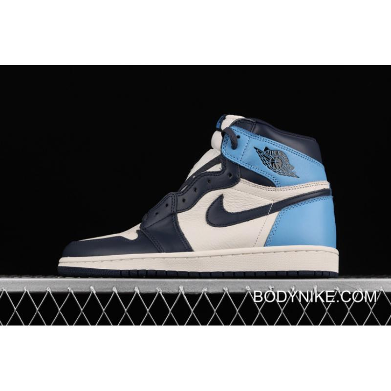 Women Men Air Jordan 1 Retro High Sail Obsidian University Blue