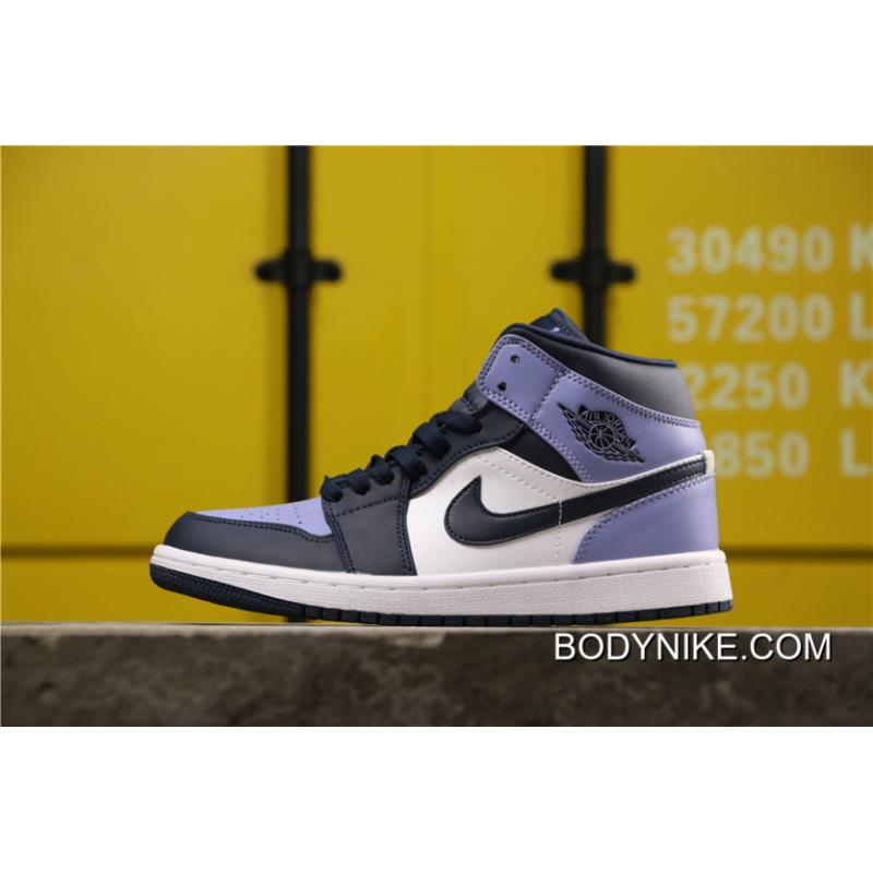 Air Jordan 1 Mid Obsidian Sanded Purple White New Release Price