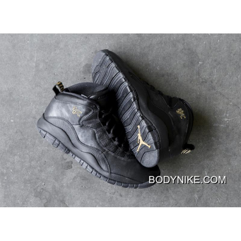 Online Air Jordan 10 NYC Black/Black-Dark Grey-Metallic Gold ...