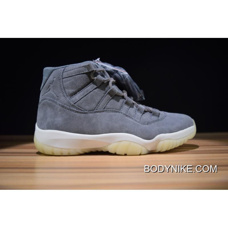 "9c69855f9ee85e Air Jordan 11 Premium ""Grey Suede"" Cool Grey Sail For Sale ..."