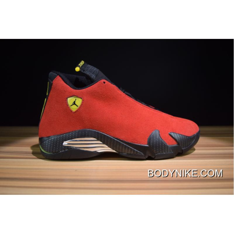 sports shoes 1f69f a0467 New Release Air Jordan 14 Retro  Ferrari  Varsity Red Vibrant Yellow-Black  ...