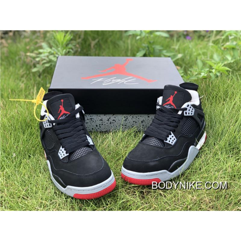 "8619725623a Buy Now Air Jordan 4 ""Bred 2019"" Black/Cement Grey-Summit White-Fire ..."