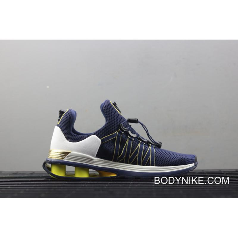 327fc11a6485e ... Nike Shox Gravity Midnight Navy Metallic Gold New Release