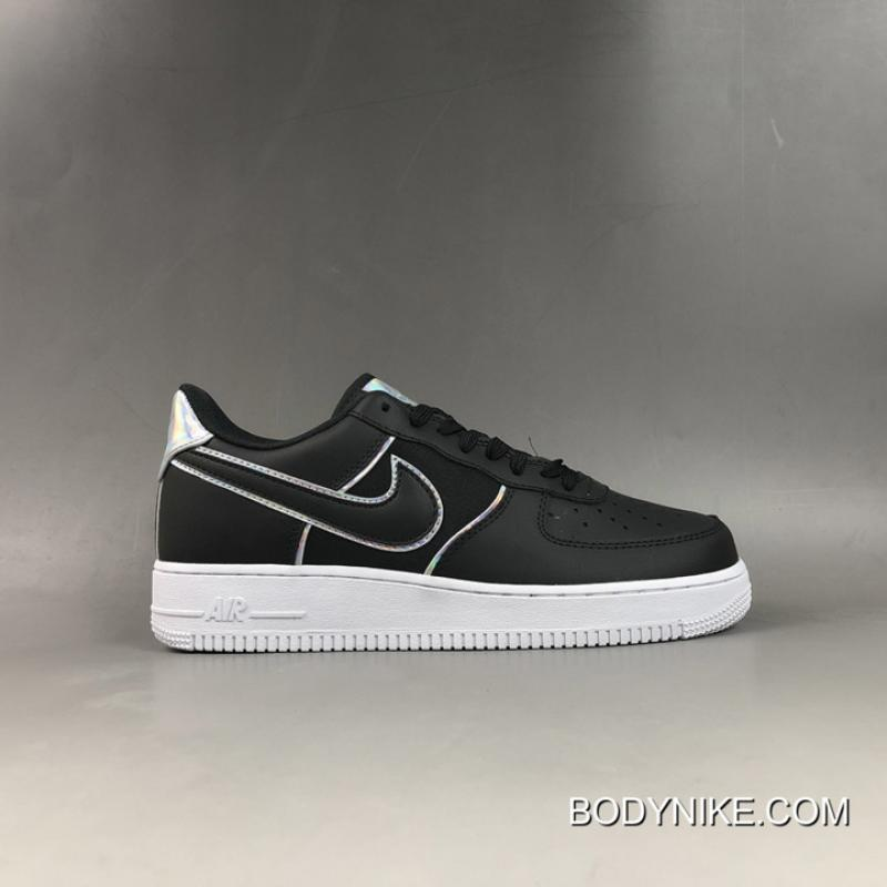 "WomenMen New Release Nike Air Force 1 Low '07 LV8 ""Black Iridescent Outline"""