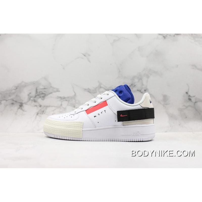 WomenMen Discount Sell Nike Air Force 1 Low Type Summit WhiteRed Orbit Black