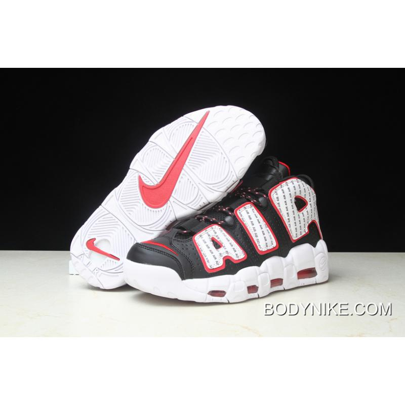 "on sale eb401 971ee Women Men Nike Air More Uptempo ""Pinstripe"" Black White-University Red ..."