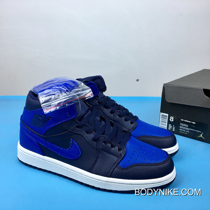 Air Jordan 1 Mid Obsidian Summit White Game Royal Free Shipping